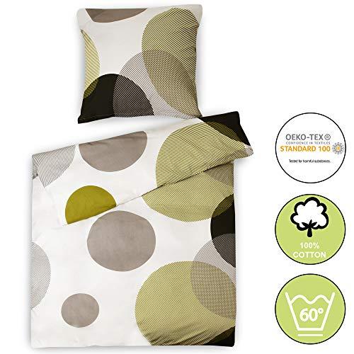 Beautissu Renforcé Bettwäsche 155x220 cm Bezug Set NELA Bettdecken Bezug & Kissenbezug 80x80 cm - Bettbezug mit Reißverschluss und 100% Baumwolle