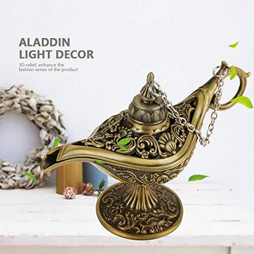 Focket Aladdin Lampe, altmodische Art Magic Legend Wunschlampe, Genie Lampe, für Wohnkultur zur Aufbewahrung von Schmuck(Bronze)