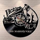RCA Victor Dog His Master's Voice Musical Dog Reloj de Pared Victor Nipper Dog Reloj de Vinilo Vintage Rock n Roll Regalo de música