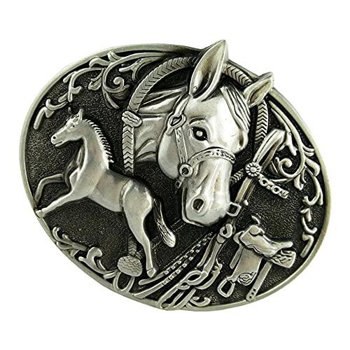 Lztly Corbata bolo Talla cinturón Hebilla para Hombre Metal Occidental Vaquero Cuero Cuero joyería Vaquero Corbata (Color : Metallic)