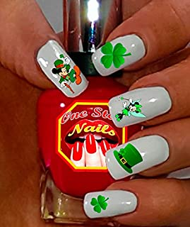 St Patrick's Day Nail Art Decals (Tattoo). Shamrock, Clover, Mickey & Minnie Mouse. Set of 47 Waterslide Nail Art Decals. OSN-SPD001-47 by One Stop Nails