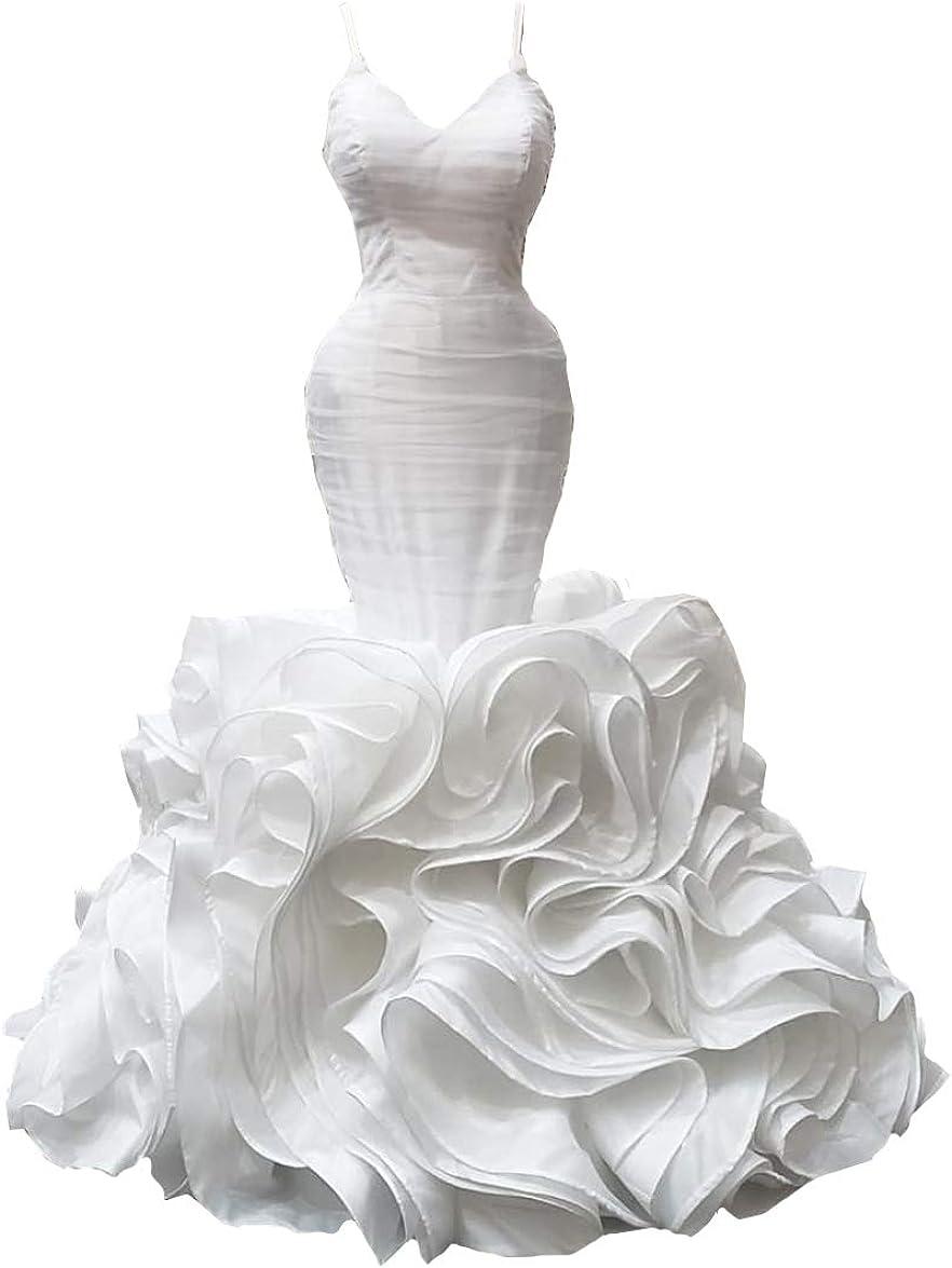 Elliebridal Spaghetti Straps Organza Women's Bridal Ball Gown Mermaid Lace Wedding Dresses with Ruffles Train for Bride