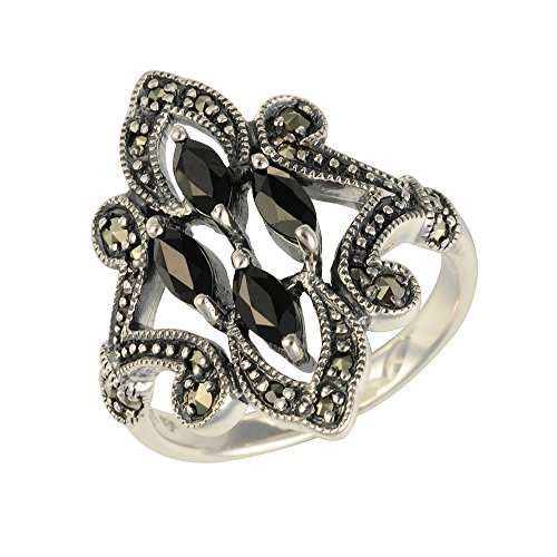 Esse Marcasite Ring aus Sterlingsilber, mit schwarzem Spinell und Markasit, Jugendstil