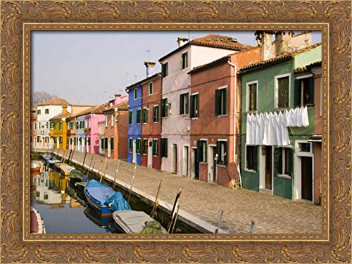 Kaveney, Wendy 40x28 Gold Ornate Framed Canvas Art Print Titled: Italy, Burano Colorful Houses of line a Canal