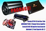 COMPLETE PACKAGE! Bazooka BT1014 10' Subwoofer Bass Tube + Audiobank P1400.2 2...