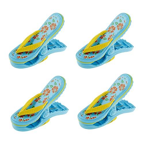 Gernian Paquete de 4 Pinzas de PláStico de Toallas de Playa, Bonitas Zapatillas Pinzas de Playa para Tumbonas, Pinzas de LavanderíA de Gran TamaaO para Vacaciones, Playa, Piscina