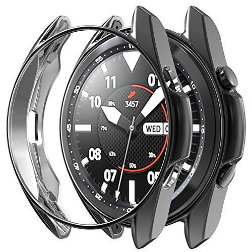 Wiki VALLEY Hülle für Samsung Galaxy Watch 3 45 mm, 2er Pack Soft TPU Stoßstange Schutzhülle, ultradünne stoßfeste Hülle für Galaxy Watch3-Schwarz + Schwarz