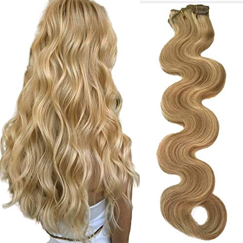 Body Wave Hair Extensions Clip ins Beige Blonde with
