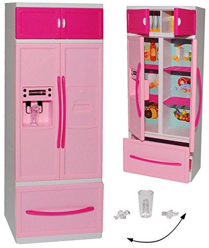 Kühlschrank mit Eiswürfelspender / Gefrierschrank - für Puppenhaus - Miniatur für Puppenstube - passend für alle gängigen Modepuppen - Plastik / Kunststoff ro..