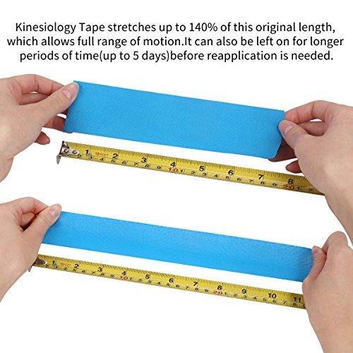 2 Rollen Physio Tape Kinesiologie Tape, Aollop Muskeln Kinesiology sport vorgeschnitten 5m x 5cm(16.4 Fuß x 2 Zoll) Rollenlänge Elastisches Therapeutisches sport verletzungen Tape elastische Bandage für Plantarfasziitis Physiotherapie, Knöchel, Knie,Rücken, Nackenschmerzen Nacken .Muskel und Gelenk Tape (1Blau+1Schwarz) - 4