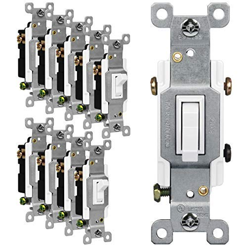 ENERLITES Toggle Light Switch 3Way or Single Pole 15A 120277V Grounding Screw Residential Grade UL Listed 83150W10PCS White 10 Pack 10 Count