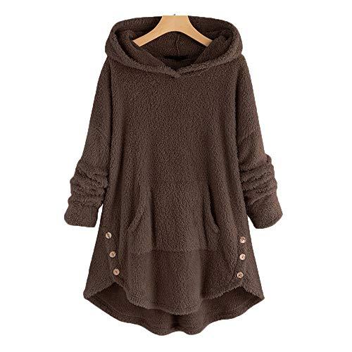 Sudadera con Capucha de Punto con Botones cálidos para Mujer con Bolsillos Cárdigans Suéter Ropa de Abrigo