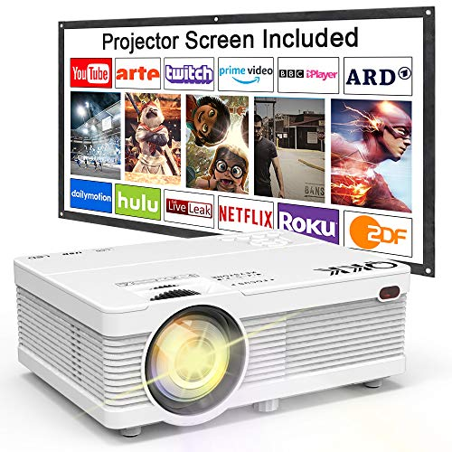 QKK Projector 4500 Lumen 1080P Full HD Supported [Projection Screen...