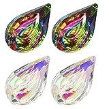 4 Piezas Cristales Colgantes Gotas Colgantes, Decoraciones de Atrapasol Cristal, 76 mm Cristal Artificial Vistoso Colgante de Cristal para Ventanas, Jardín, Candelabro Árbol, Cortina (2 Estilos)