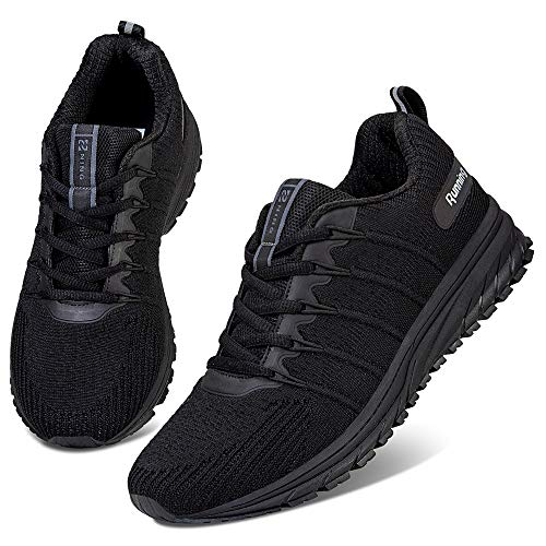 WateLves Mens Running Shoes Womens Walking Casual Sneakers for Gym Training Fitness Jogging Tennis Athletic (Black/2, 43)