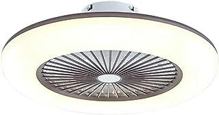 Ventilador de techo con iluminación, ventilador LED de techo silenciosamente invisible, regulable con control remoto, lámpara de techo led para dormitorio, sala de estar, comedor (Café)