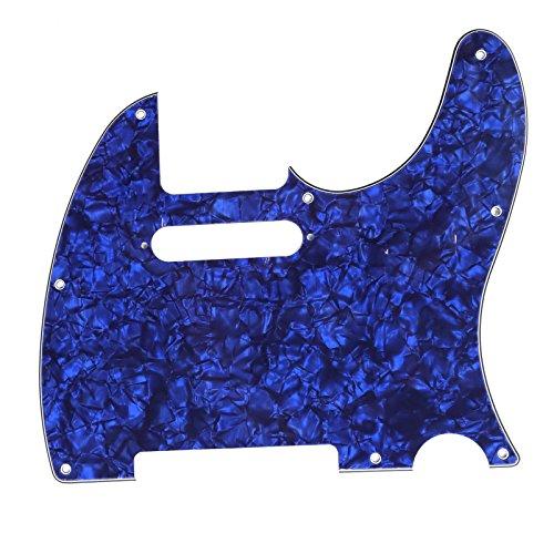 Musiclily 8 Löcher Tele Pickguard Gitarren Schlagbrett für Fender USA/Mexican Standard Telecaster Modern Style,4 lagig Blue Pearl