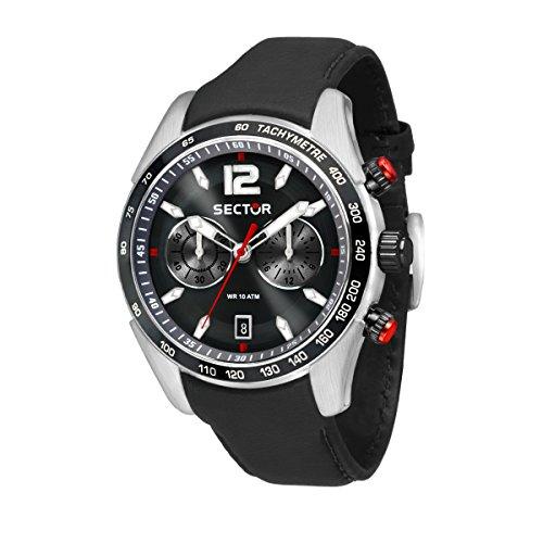 SECTOR Herren Chronograph Quarz Uhr mit Leder Armband R3271794004