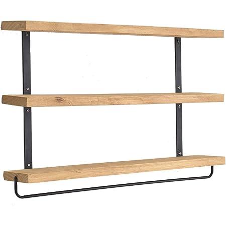 RongFeng Étagère flottante industrielle à 3 niveaux avec barre porte-serviettes, étagère de rangement rustique, étagère flottante, étagère murale, étagère à épices de cuisine