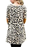 Leopard Print Tops for Womens Elbow Patch Long Sleeve Button Shirts Loose Tunic Tops L
