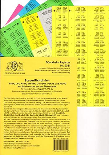 DürckheimRegister STEUERRICHTLINIEN mit Stichworten (2020): 196 Registeretiketten (sog. Griffregister) STEUERRICHTLINIEN mit STICHWORTEN für EStG, ... • In jedem Fall auf der richtigen Seite