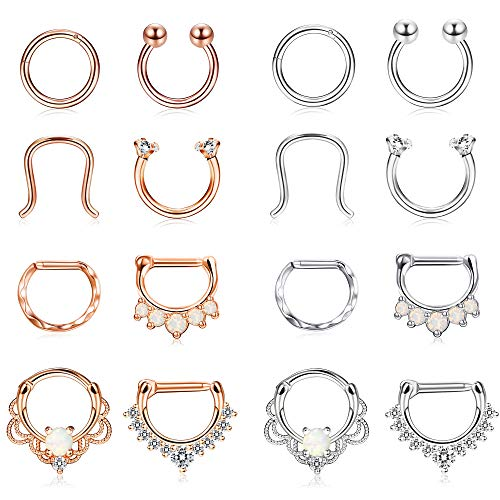 Finrezio 16pcs 16g Stainless Steel Septum Piercing Nose Rings Hoop