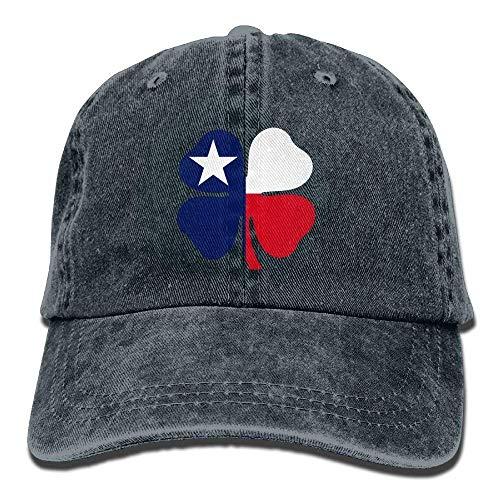 Hoswee Baseballmütze Hüte Kappe Texas Luck Clover Unisex Denim Baseball Cap Adjustable Snapback Hats