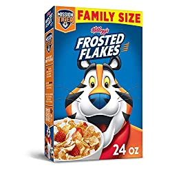 Kellogg's Frosted Flakes, Breakfast Cereal, Original, Excellent Source of 7 Vitamins and Minerals, F