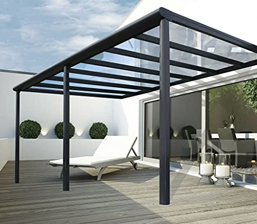 VITRO Terrassenüberdachung Polycarbonat 7x3,5m Anthrazit