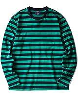 Zengjo Striped Long Sleeve Shirt(M,Navy&Green Wide)