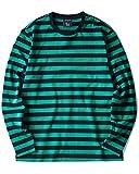 Zengjo Striped Long Sleeve Shirt(XXL,Navy&Green Wide)