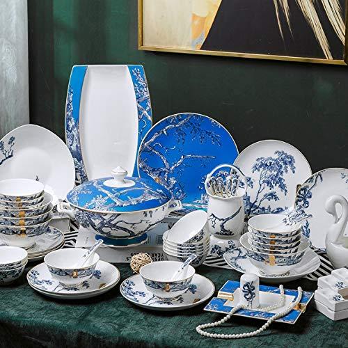 MMFXUE Juego de vajilla de 62 Piezas Juegos de Platos de Cena de Porcelana Blanca Crema con Cuencos, Platos de Postre, Platos de Sopa y Platos de Cena