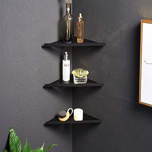 3 Pack Black Premium Quality Corner Shelf - Floating Corner Mounting Shelf Hardware Included Kitchen Living Room Bathroom Safe 304 Stainless Steel Wall Corner Shelf Black