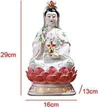 Statue Small Statue Ceramic Quan Yin Buddha Sitting On A Lotus Statue Guanyin Kwan Yin Kuanyin Goddess of Mercy Height 12 -A