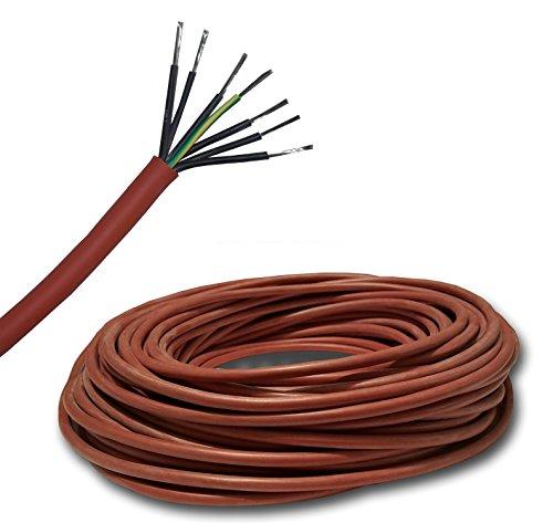 Siliconen kabel saunakabel per meter SIHF-J 7 x 2,5 mm2 bijv. voor de saunakachel tot 9 kW, 100% OFC koper vertind - Gratis verzending - koop alleen wat je nodig hebt. Keuze uit stappen van 1 meter. 31 Meter 7 x 2,5 mm² Mantel roze tot rood, puur ovc koper vertint, fijne aderig