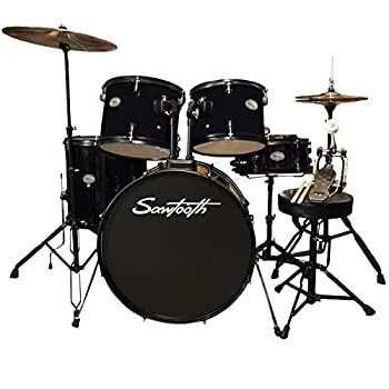 Rise by Sawtooth Full Size Student Drum Set with Hardware and Zildjian Planet Z Cymbals Pitch Black Pack ZBT Pack  ST-RISE-DS-BLK-KIT-2