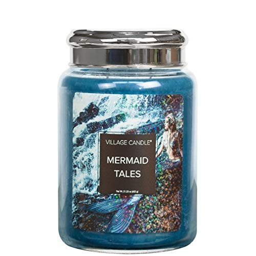 Village Candle Mermaid Tales 26 oz Large Glass Jar Scented Candle, 21.25 Net oz Vela, Azul