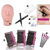 Training Mannequin Head False Eyelashes Extensions Practice Kit Set for Makeup Training and Eyelash Graft(No Contain Glue)