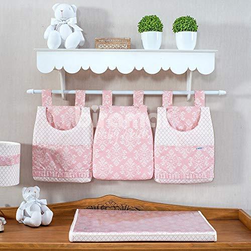 Porta Fraldas para Bebê 3 Peças Jardim Secreto Arabesco Rosa, Biramar Baby, Rosa