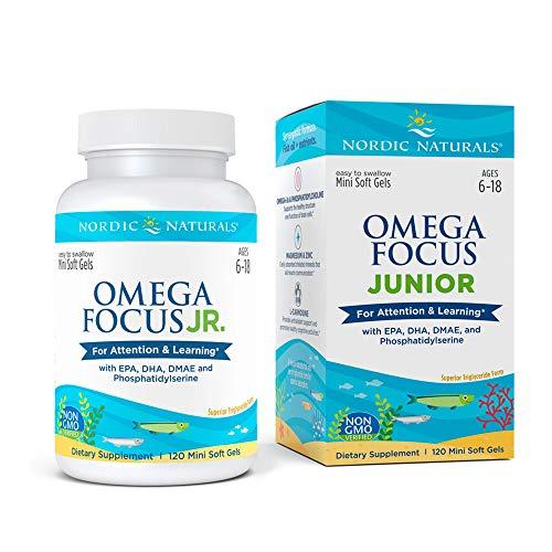 Nordic Naturals Omega Focus Jr, Limón - 120 mini geles blandos - 900 mg Total Omega-3s con EPA, DHA, DMAE y fosfatidilserina - Atención, aprendizaje, sin OGM - 30 porciones