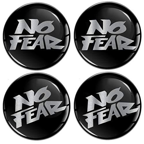 Biomar Labs® 4 x 60 mm sticker 3D silicone zilver No Fear Geen angst voor wieldoppen naafdoppen wielnaafdop wielnaafdop A 10260