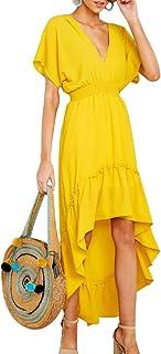 Joteisy Women's V Neck Short Sleeves Tie Back Ruffled High Low Hem Maxi Dress