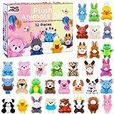Ruisita 32 Pack Mini Plush Animals Toys Set, Jungle Animal Plush Toys Stuffed Animals Set for Easter Hunts, Basket Stuffers, Easter Party Favor, Goodie Bag Fillers