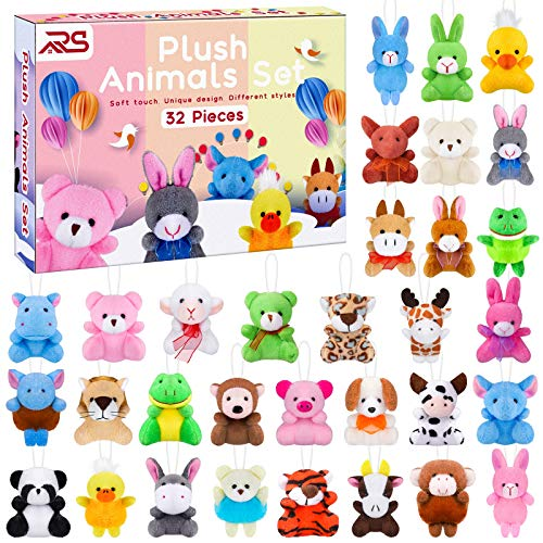 Ruisita 32 Pack Mini Plush Animals Toys Set Jungle Animal Plush Toys Stuffed Animals Set for Easter Hunts Basket Stuffers Easter Party Favor Goodie Bag Fillers