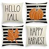 AVOIN Hello Fall Watercolor Stripes Pumpkin Leaf Throw Pillow Cover Happy Harvest, 18 x 18 Inch Autumn Thanksgiving Farmhouse Cushion Case for Sofa Couch Set of 4