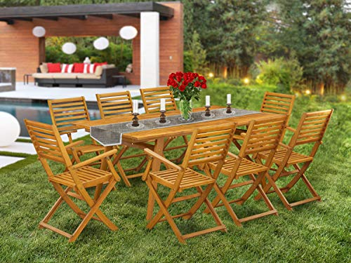 East West Furniture DEBS9CANA 9-Piece Set-8 Patio Dining Chairs Ladder Back and Small Outdoor Table and Rectangle Top with Wooden 4 Legs-Natural Oil Finish, Wood Color