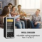 Klarstein Beersafe 7XL Getränkekühlschrank - Kühlschrank, 242 L für bis zu 357 Getränkedosen, 5 Metalleinlegeböden, Glastür, freistehend, Bodenrollen, Edelstahlfront - 5