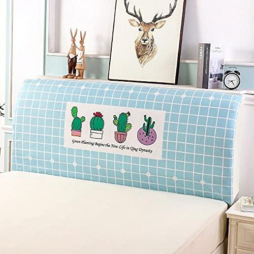 Huvudgavel skydd ljusblå stretch säng sänggavel överdrag tvättbar avtagbar bekväm skydd dammtät sänggavel dekor för sovrum enkel dubbelsäng sängar 220 cm (sänggavel längd 210 – 240 cm)