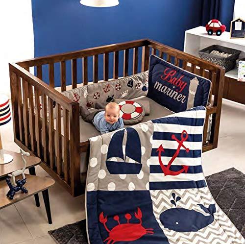 DreamPartyWorld Marine Sailor Crib Set Baby Gift Shower Bedding Nursery BOY Blue Ocean 100% Cotton - 6 Pieces