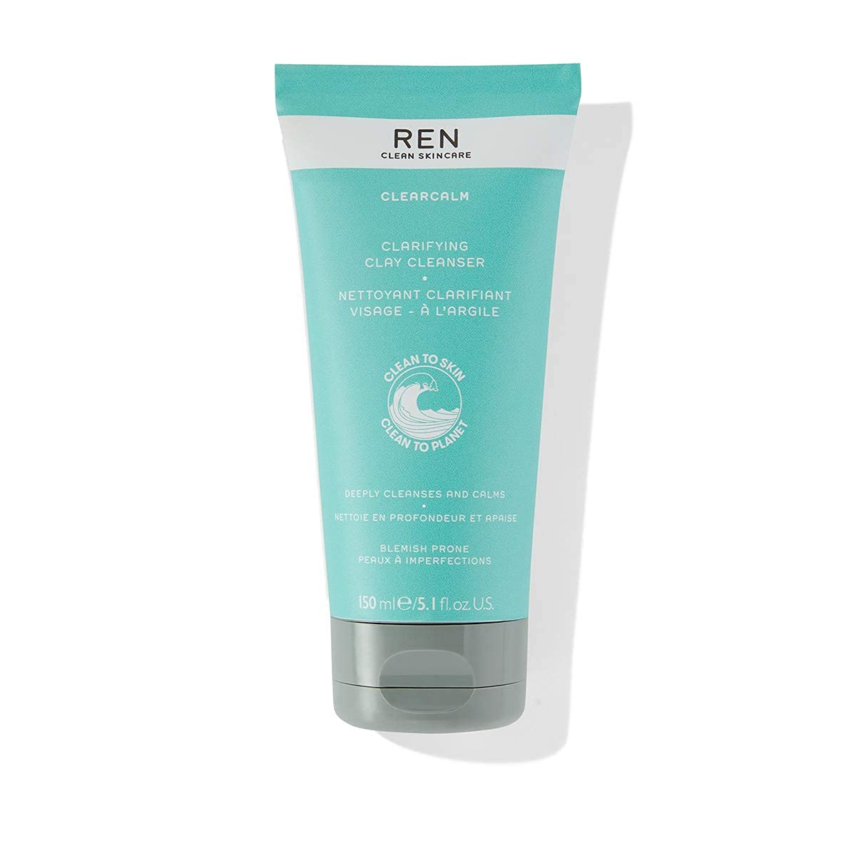 REN Clean Skincare Clearcalm Clarifying Clay Cleanser, Breakout-Prone Skin, With Kaolin Clay & Willow Bark 5.1 FlOz: Premium Beauty